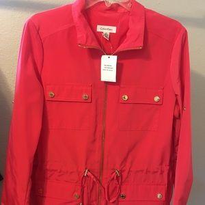 NWT Calvin Klein Rain Utility Jacket Watermelon